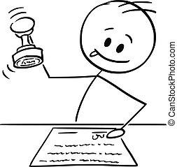 timbratura, francobollo, o, lavoratore, cartone animato, ...