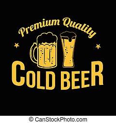timbre, étiquette, bière, icône, froid, ou