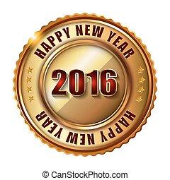 timbre, étiquette, heureux, nouveau, doré, 2016, diamonds., année