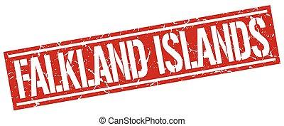 timbre, îles, falkland, carrée, rouges