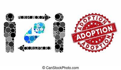 timbre, adoption, collage, grunge, nouveau né, personnes, échange