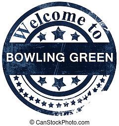 timbre, blanc, arrière-plan vert, bowling