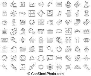 timbre, blanc, icônes