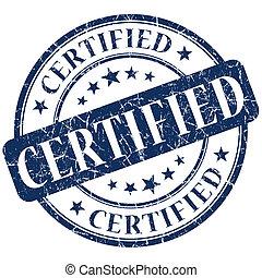 timbre, bleu, certifié