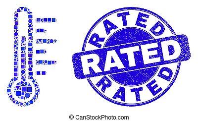 timbre, bleu, gratté, rated, température, cachet, mosaïque