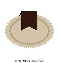 timbre, brun, décoration, ruban, cachet