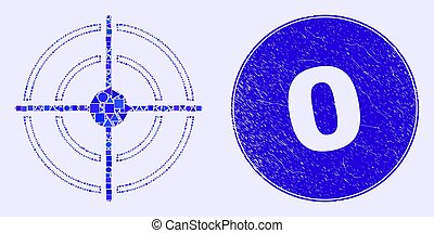 timbre, bullseye, bleu, 0, détresse, mosaïque