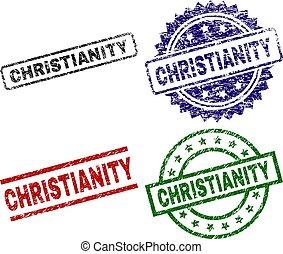 timbre, cachets, textured, endommagé, christianisme
