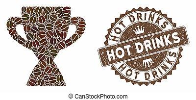 timbre, café, prix, boissons, mosaïque, tasse, textured, chaud