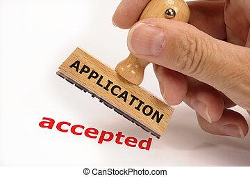 timbre, caoutchouc, accepté, marqué, application
