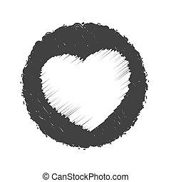 timbre, coeur, grunge, gras, texture