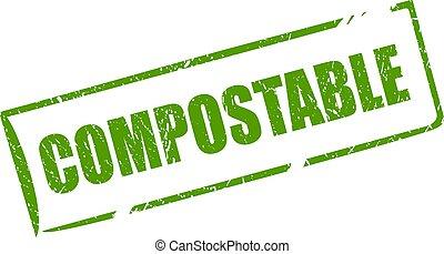 timbre, compostable, matériel