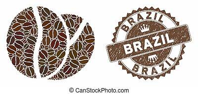 timbre, détresse, café, brésil, haricots, mosaïque