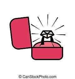 timbre de confrontación, en, un, caja, icono