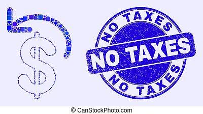 timbre, dollar, bleu, non, gratté, remboursement, impôts, mosaïque