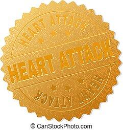 timbre, doré, attaque, médaille, coeur
