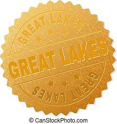 timbre, doré, grands lacs, médaillon