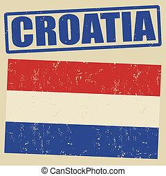 timbre, drapeau croatie, grunge