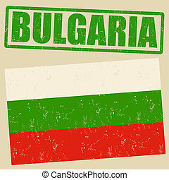 timbre, drapeau, grunge, bulgarie