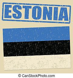 timbre, drapeau, grunge, estonie