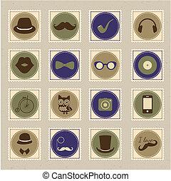 timbre, ensemble, hipster, retro, icône