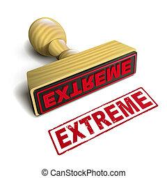 timbre, extrême, à, rouges, texte, blanc