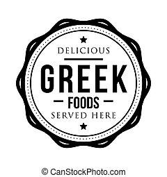 timbre, grec, nourritures, délicieux, vendange
