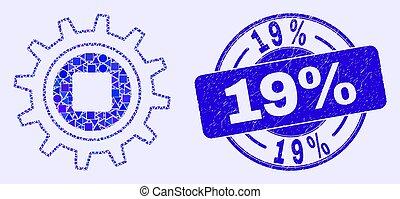 timbre, grunge, 19%, pignon bleu, mosaïque