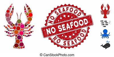 timbre, homard, fruits mer, non, icône, textured, collage