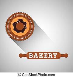 timbre, illustration, boulangerie, cachet, icon., pain, design.