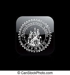 timbre, illustration, célèbre, vecteur, icône, capital's