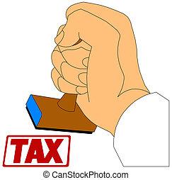 timbre, impôt, main