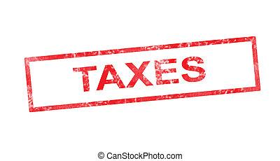 timbre, impôts, rectangulaire, rouges