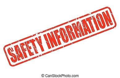 timbre, information, sécurité, rouges, texte