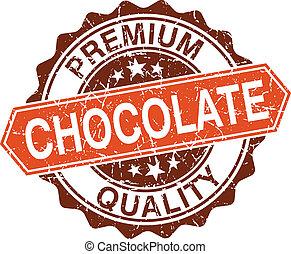 timbre, isolé, chocolat, fond, grungy, blanc