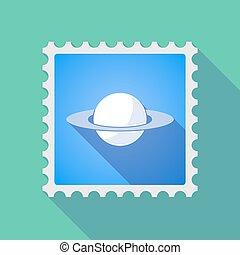 timbre, long, planète, courrier, ombre, saturne, icône