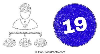 timbre, maille, ingénieur, 19, bleu, grunge, hiérarchie, toile
