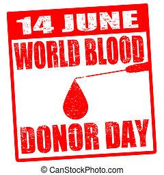 timbre, mondiale, donateur, sanguine, jour