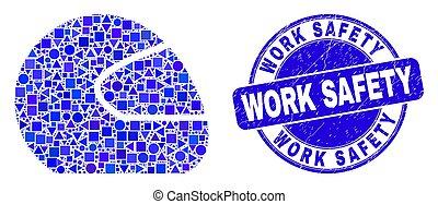 timbre, motocyclette, bleu, casque, sécurité, gratté, travail, mosaïque