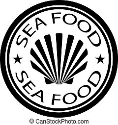 timbre nourriture, coquille, mer, vecteur