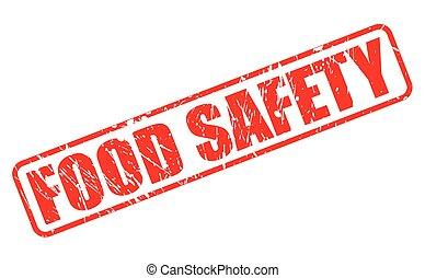 timbre nourriture, sécurité, rouges, texte
