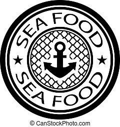 timbre nourriture, vecteur, mer