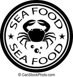 timbre nourriture, vecteur, mer, crabe