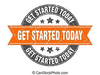 timbre, obtenir, started, ribbon., orange, aujourd'hui, rond