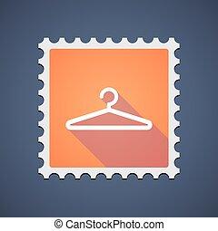 timbre, orange, cintre, icône, courrier