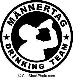 timbre, pères, allemand, équipe, boire, jour