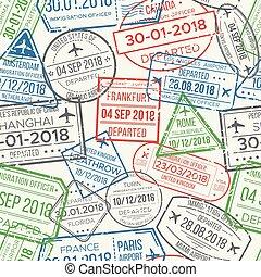 timbre passeport, aéroport, voyage, pattern., seamless, caoutchouc, motifs, timbres, vecteur, voyager, fond, étau, document, ou, visa