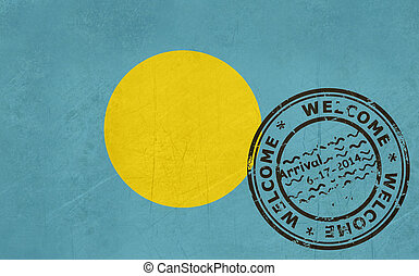 timbre passeport, palaos, accueil, drapeau