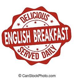 timbre, petit déjeuner, anglaise, ou, signe