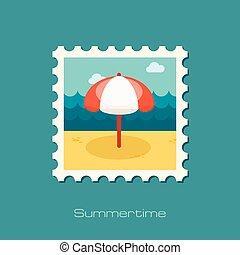 timbre, plat, parasol, plage
